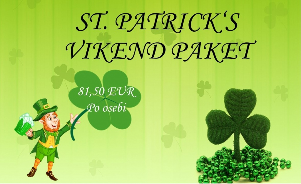 ☘️ST. PATRICK'S VIKEND PAKET☘️ Kdaj: 16. do 18. marec 2018 Paket zajema:  ☘️ 2x nočitev v dvoposteljni sobi ☘️ 2x polpenzion z zajtrkom in večerjo ☘️ pijača dobrodošlice ☘️ celodnevno kopanje v terme Vivat ☘️ vstopnica za stand up (16.3. ob 20.00) ☘️ st. Patrick's day s skupino Bluegrass Hoppers (17.3. ob 20.00)